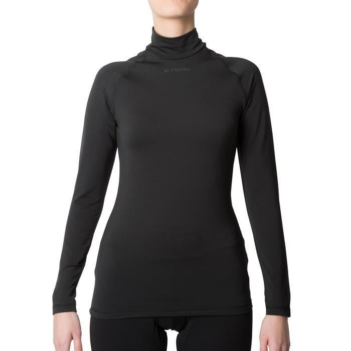 Fahrrad-Unterwäsche Langarm-Funktionsshirt 100 Damen schwarz