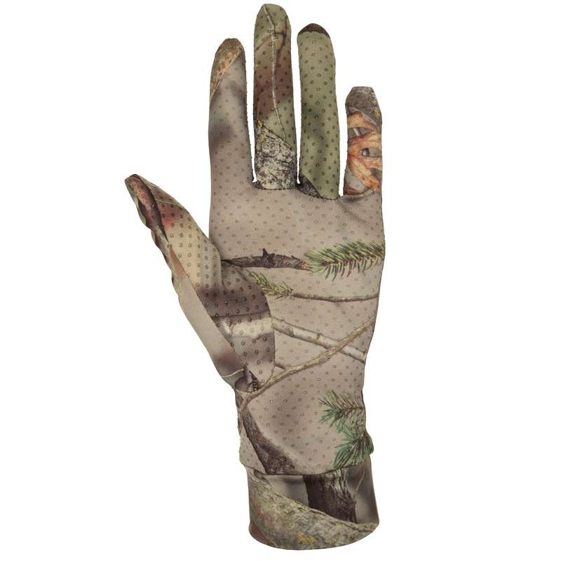 CAMO CLOTHING DRY/WET WEATHER Shooting and Hunting - ACTIKAM 100 GLOVES BROWN SOLOGNAC - Hunting Types