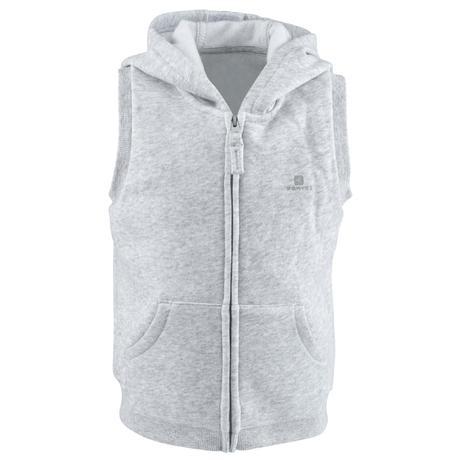 efe53f535b64 100 Baby Sleeveless Hooded Gym Jacket - Grey