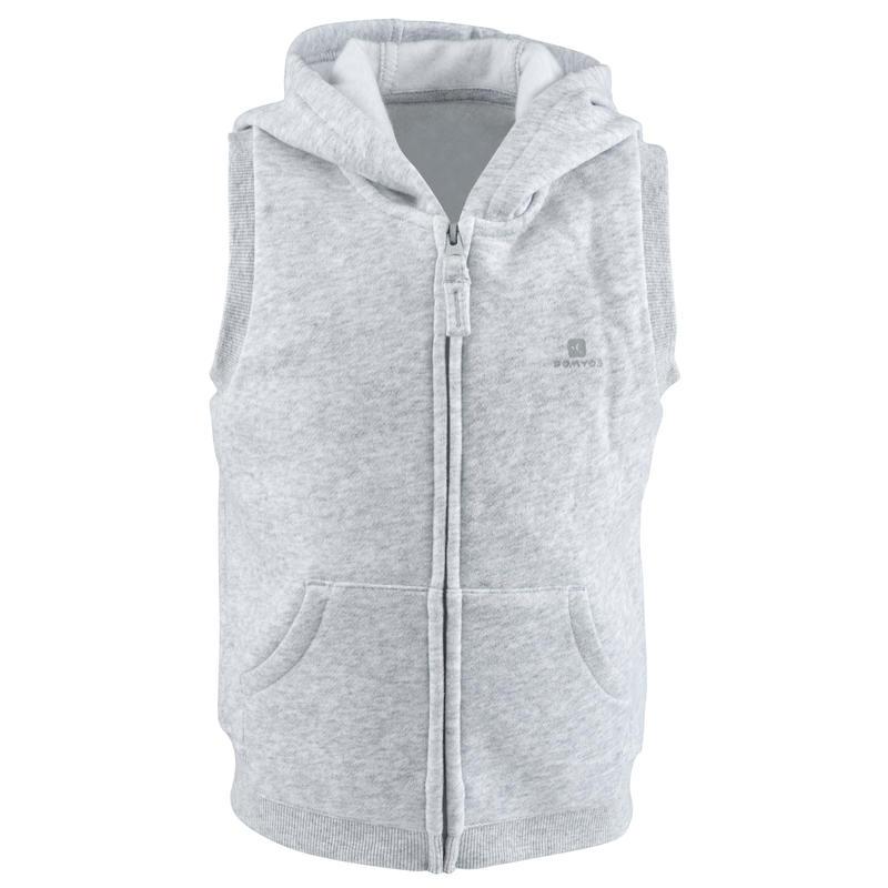 100 Baby Sleeveless Hooded Gym Jacket - Grey