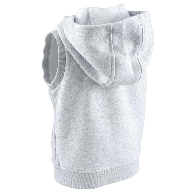 Áo khoác có mũ không tay tập gym cho bé - Xám