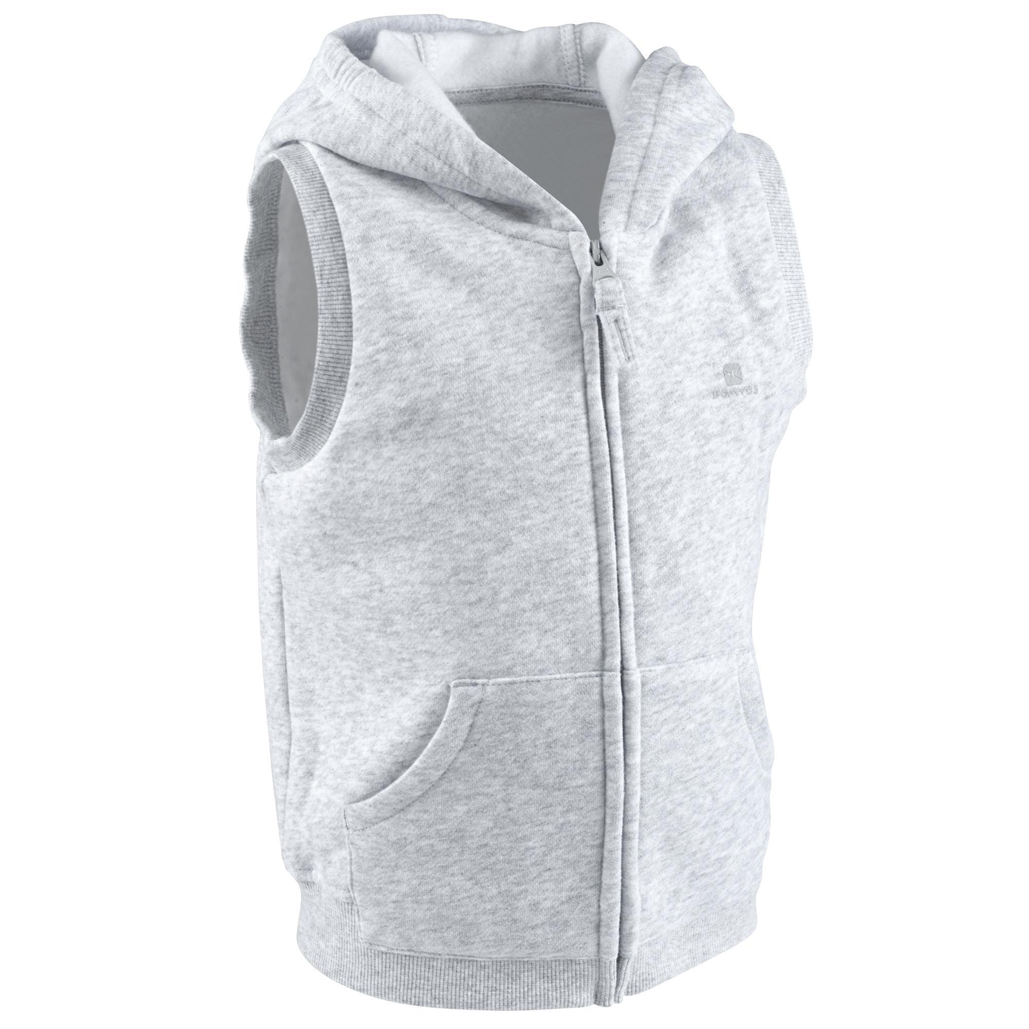 Veste chaude sans manches zipp e capuche gym baby gris - Felpa porta bebe decathlon ...