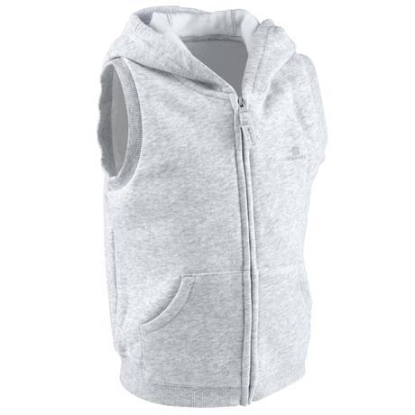 13a2b184cedd7 Veste sans manches capuche 100 Baby Gym gris | Domyos by Decathlon