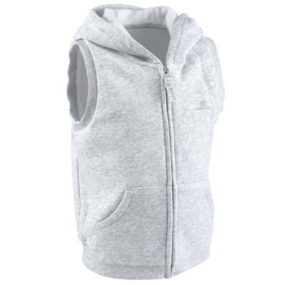 Veste sans manches capuche 100 Baby Gym gris