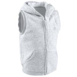 Mouwloze hoodie met rits 100 voor kleutergym grijs