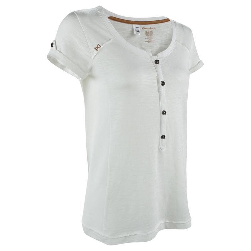 T-Shirt manches courtes Randonnée FemmeArpenaz 500 Blanc