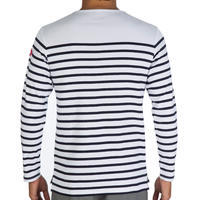 Men's striped stretch cotton sailor's top with sun protection 40+ - Navy blue