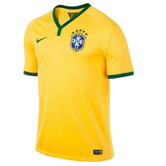 Voetbalshirt voor volwassenen replica Brazilië geel - 595396