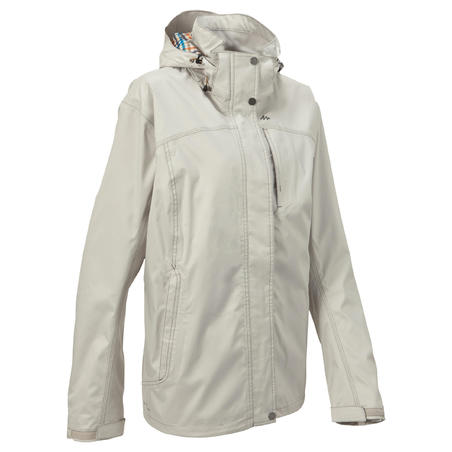 Arpenaz 300 Women's Waterproof Hiking Rain Jacket - Light Grey