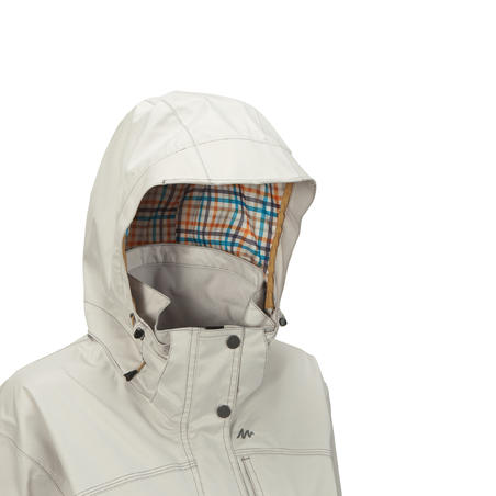 Arpenaz 300 Women's Waterproof Hiking Rain Jacket - Light Grey