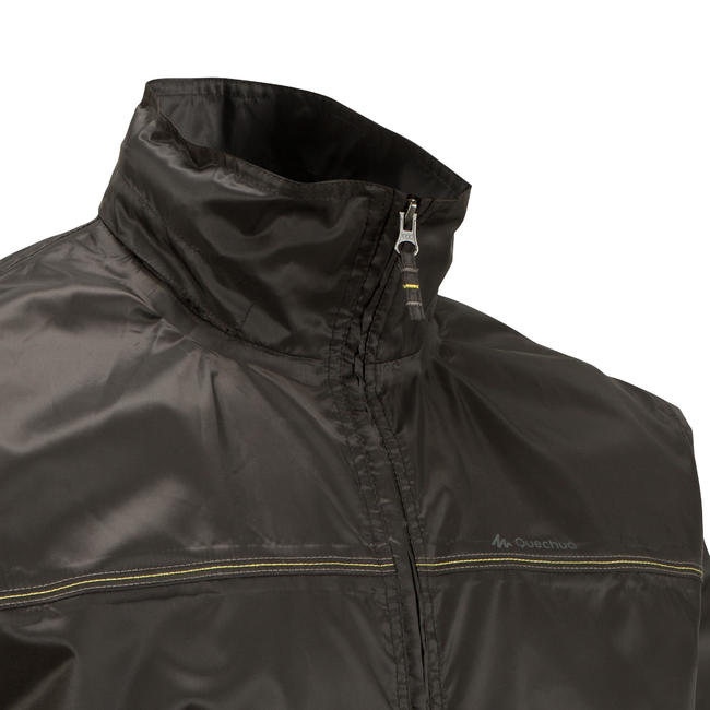 Rain-Cut Zip Men's Hiking Waterproof Rain Jacket - Black