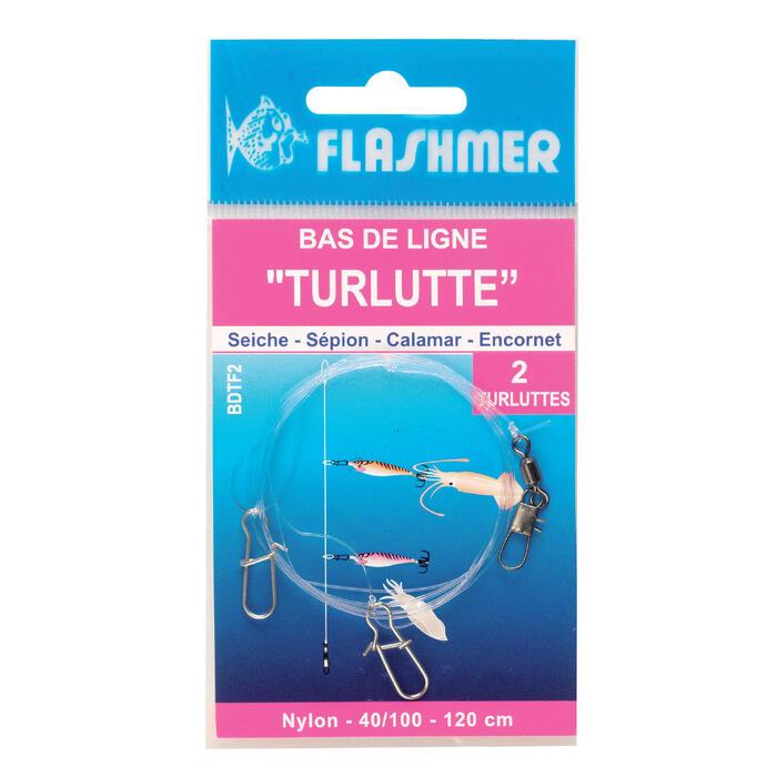 Onderlijn met 2 inktvispluggen voor vissen op zeekat/pijlinktvis
