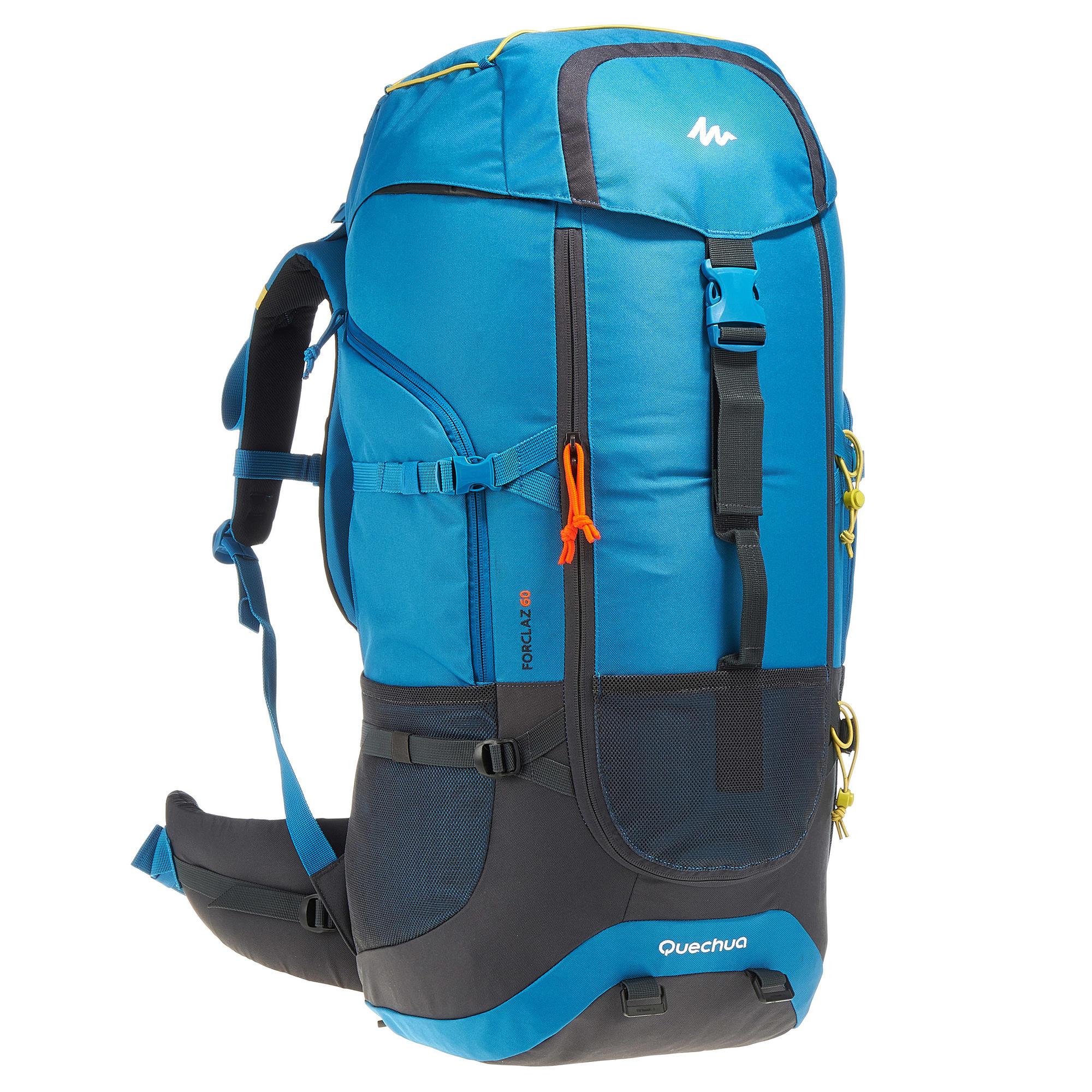 sac dos trekking forclaz 60 litres bleu quechua. Black Bedroom Furniture Sets. Home Design Ideas