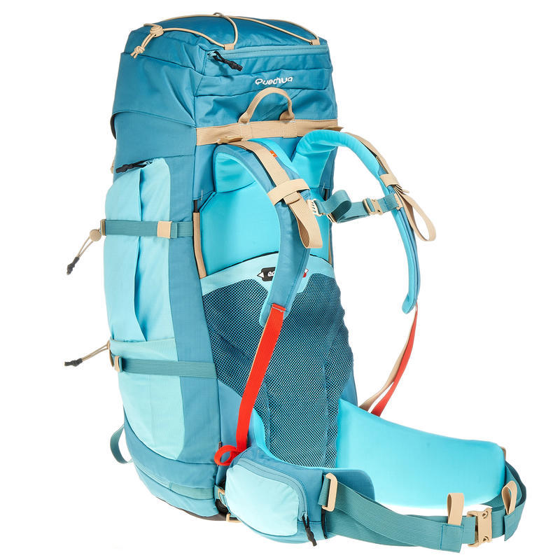 Women's Mountain Trekking Backpack _PIPE_ EASY FIT 60L W Turquoise