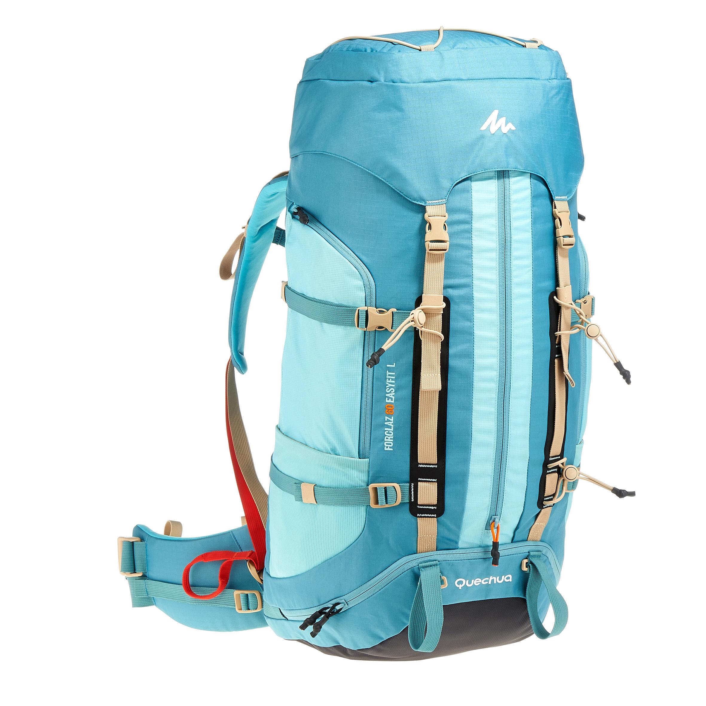 Sac à dos de randonnée sur plusieurs jours Easyfit femme 60 litres bleu