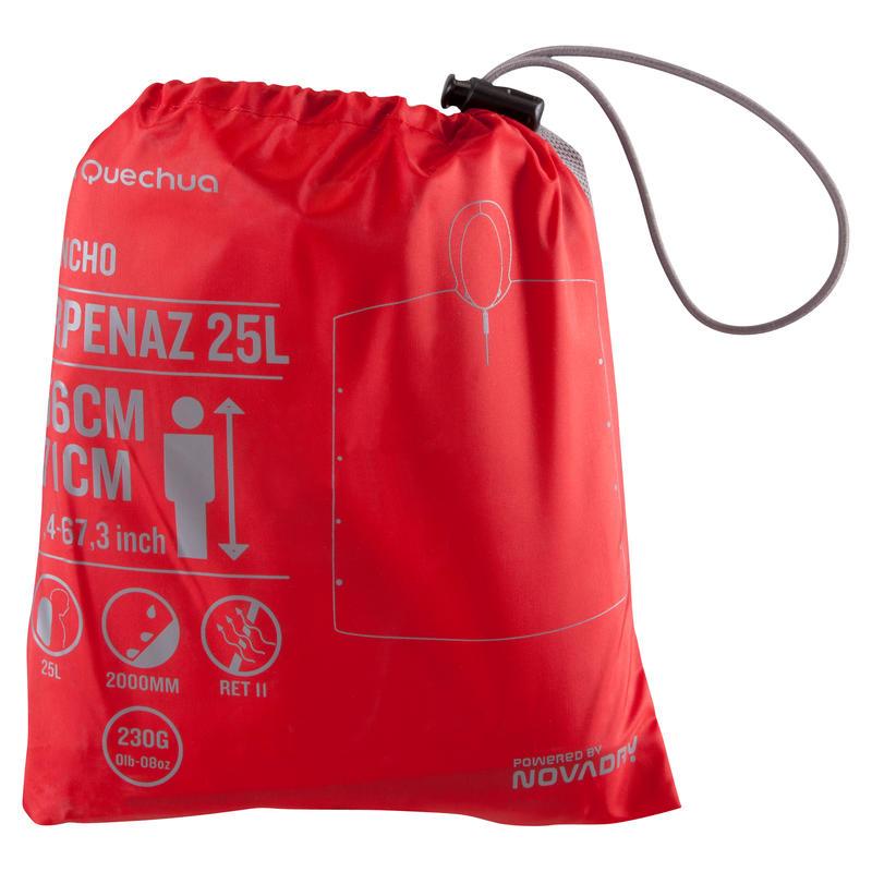 Áo poncho 25 lít đi bộ trekking Arpenaz cho trẻ em - Đỏ