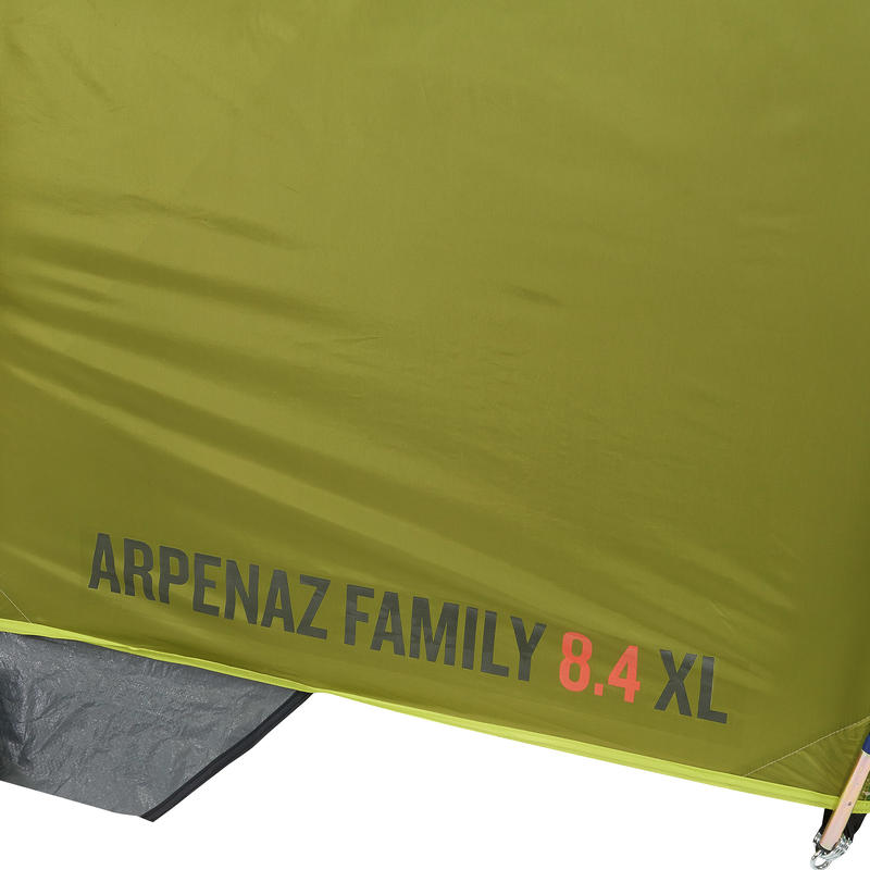 Camping tent with poles - Arpenaz 8.4 - 8 Person - 4 Bedrooms