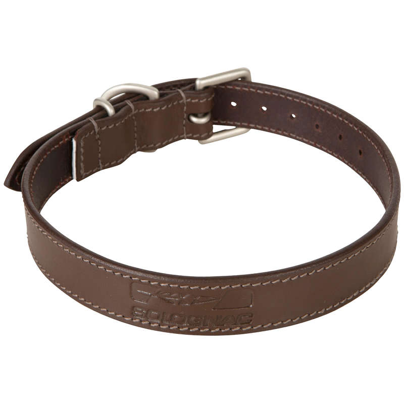 DOG ACCESSORIES - DOG COLLAR 500 LEATHER  SOLOGNAC