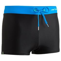 100 PEP MEN'S BOXER SWIM SHORTS BLACK/BLUE