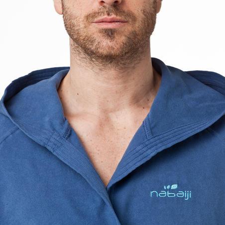 Men's microfibre bathrobe with hood and belt - dark blue