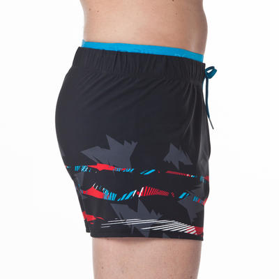 150 MEN'S SHORT SWIM SHORTS - BLACK/RED