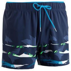 男款短版泳褲150 - 藍色/綠色