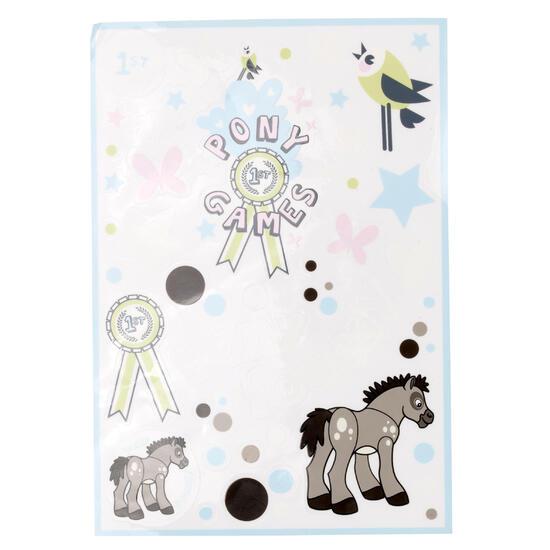 Stickers voor ruiterhelm met blazoen- en paardenmotieven - 604752