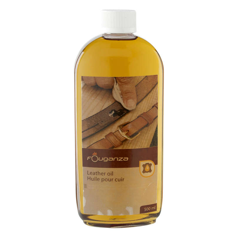 HORSE EQUIPMENT MAINTENANCE Horse Riding - LEATHER CARE OIL 500ML FOUGANZA - Saddlery and Tack