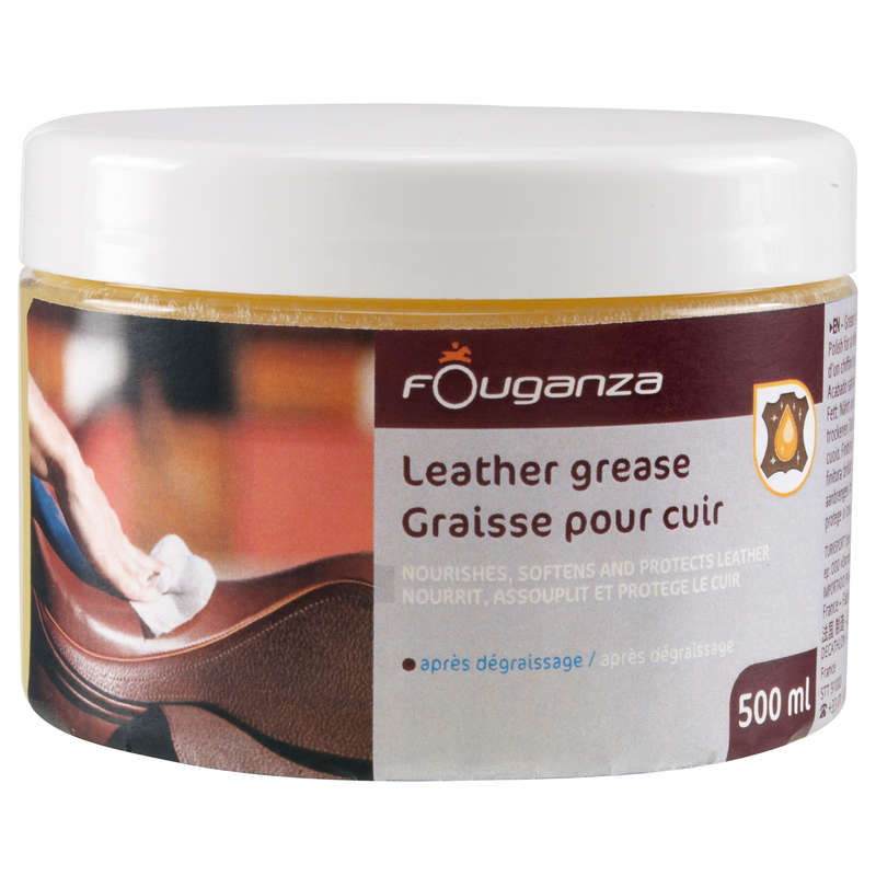 RIDING LEATHER/TEXTILE CARE Horse Riding - LEATHER CARE GREASE 500ml FOUGANZA - Saddlery and Tack