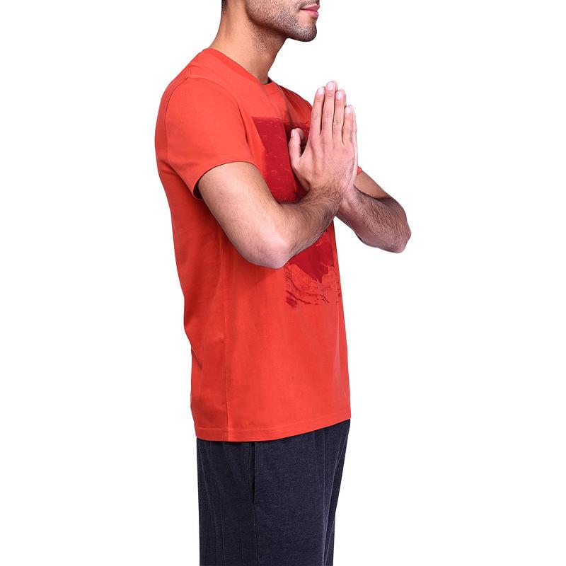 Tee-shirt Sportee 100% coton, gym douce, yoga, pilates, homme orange imprimé