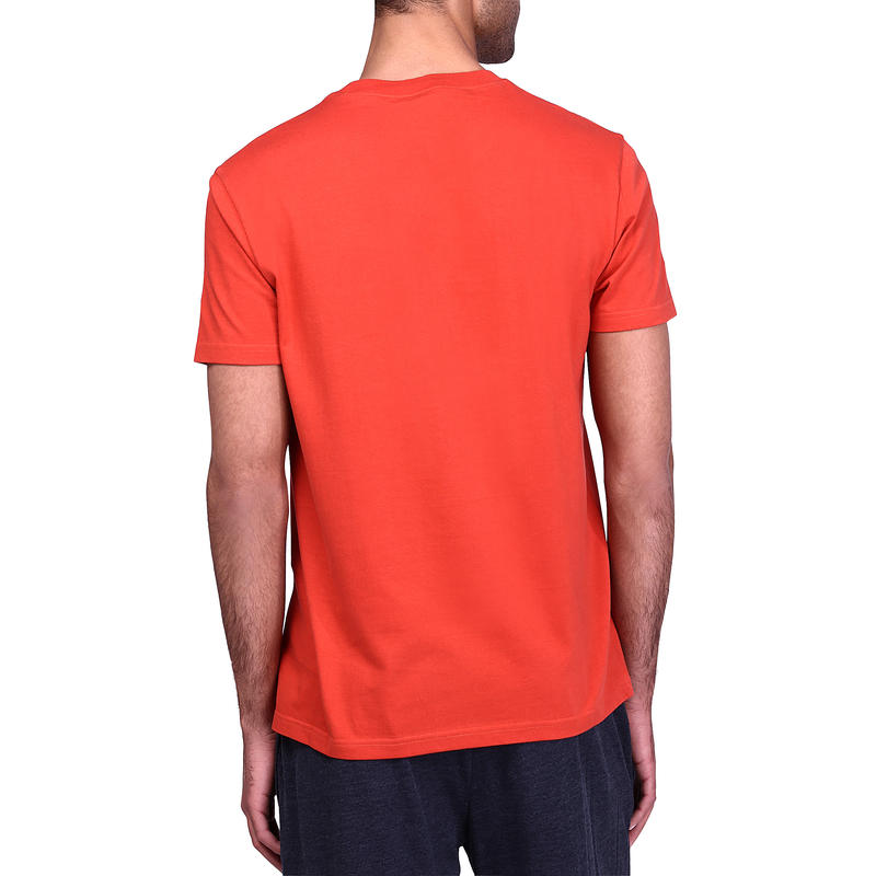 Tee-shirt Sportee 100% coton, gym douce, yoga, pilates, homme orange imprimé