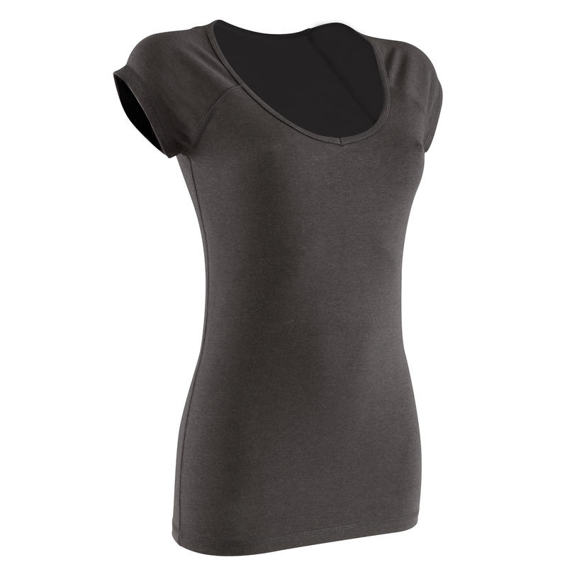 500 Women's Slim-Fit Gentle Gym & Pilates T-Shirt - Black