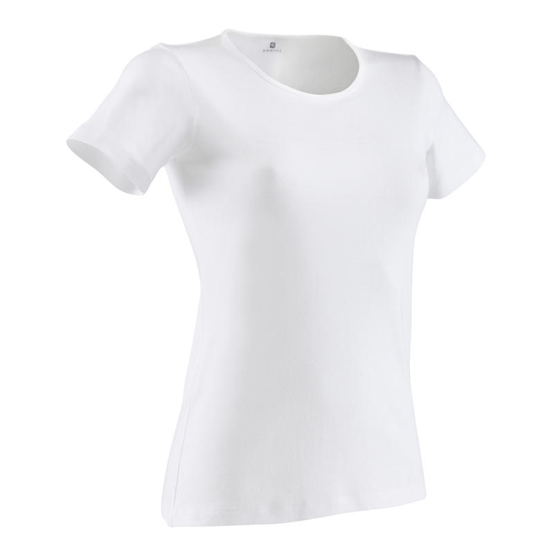 เสื้อยืดผู้หญิงทรงสปอร์ตทำจากผ้าฝ้าย 100% สำหรับพิลาทิสและกายบริหารทั่วไปรุ่น 100 (สีขาว)