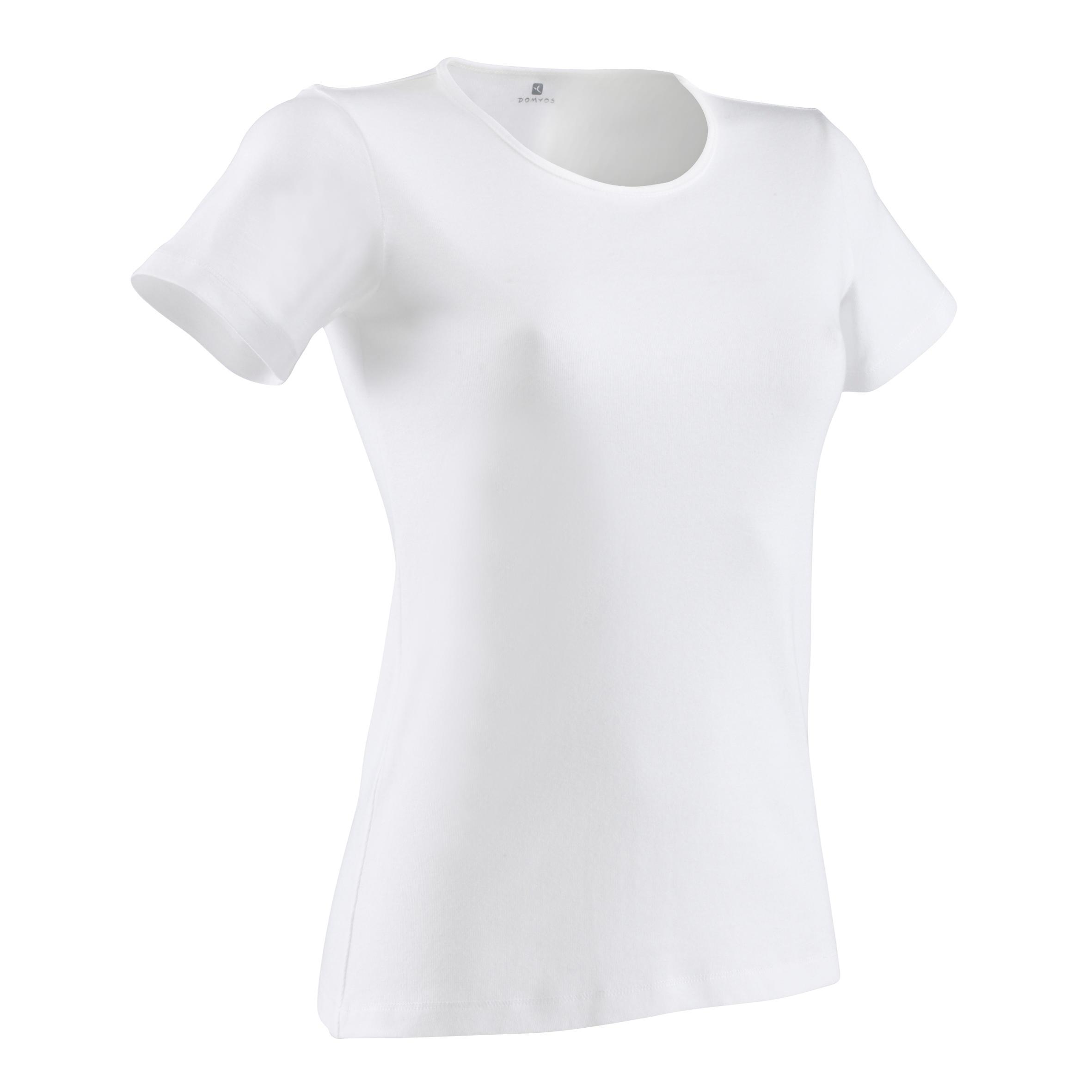 a98c4139bf0 Camiseta Manga Corta Gimnasia Pilates Domyos Sportee 100 Mujer Blanco Domyos