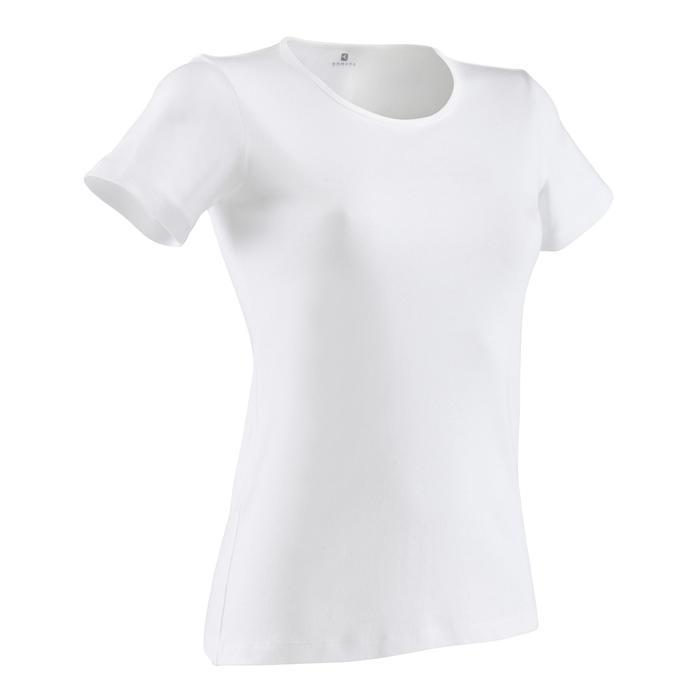Camiseta Manga Corta Gimnasia Pilates Domyos Sportee 100 Mujer Blanco