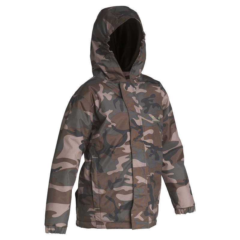JUNIOR CLOTHING Shooting and Hunting - Junior 100 camo jacket green SOLOGNAC - Hunting and Shooting Clothing
