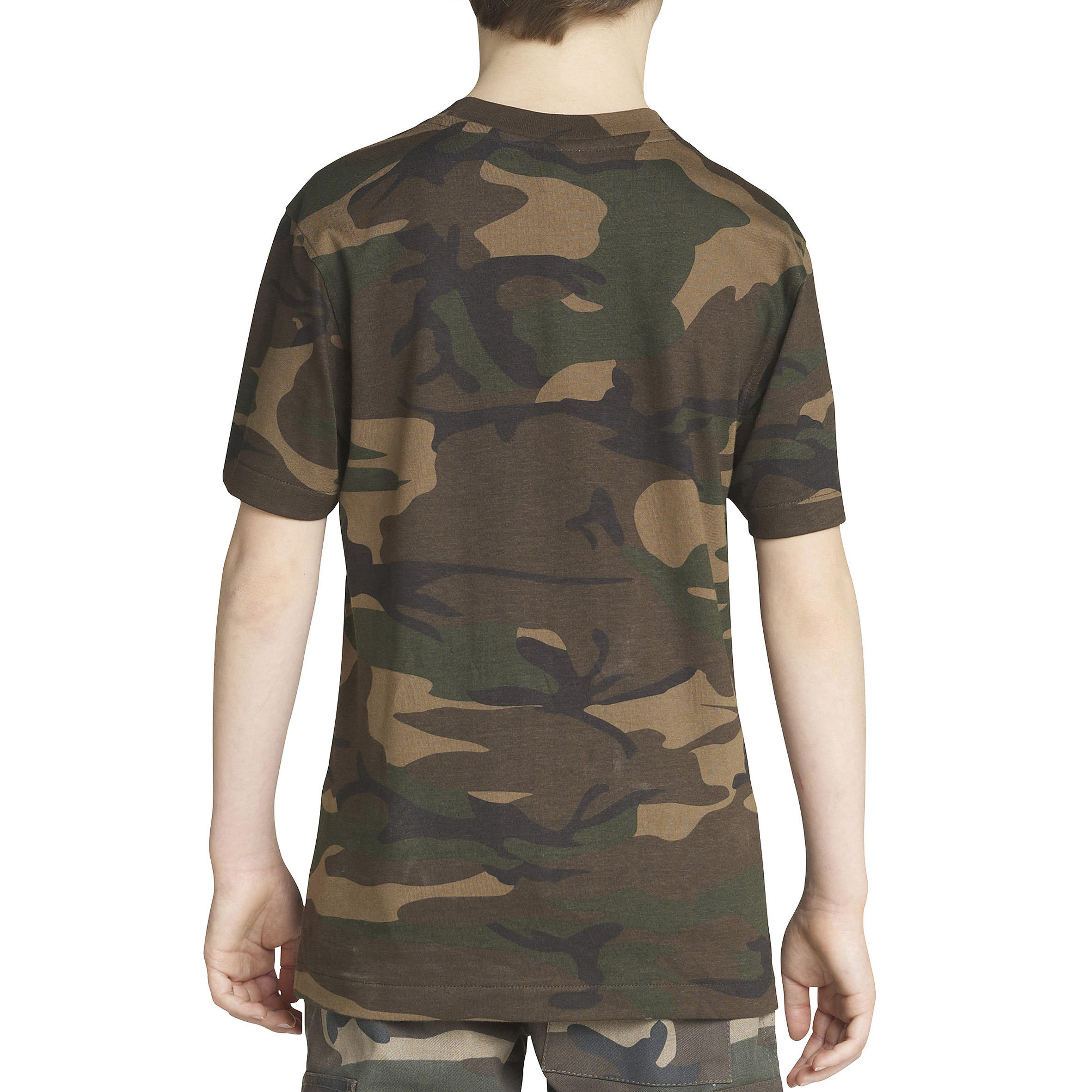 STEPPE 100 JUNIOR T-SHIRT - CAMOUFLAGE GREEN