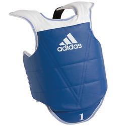 Keerbare borstbeschermer voor taekwondo blauw/rood