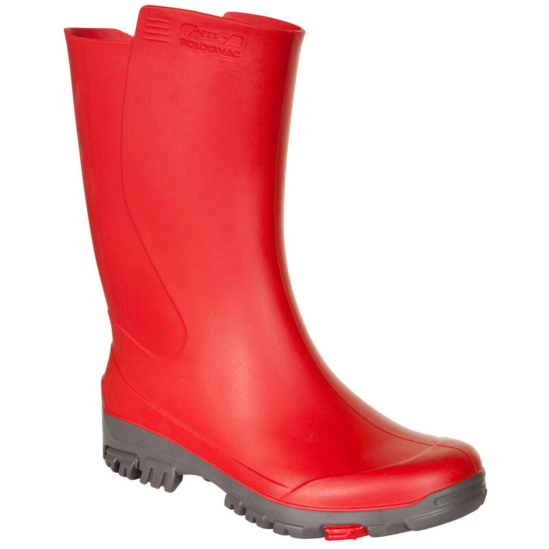 Katiuskas Botas Agua Caza Solognac Inverness 100 Niños Rojo Impermeable