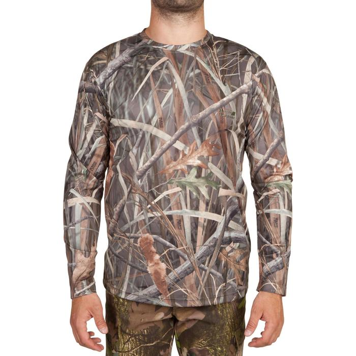 T shirt chasse manches longues Steppe 300 camouflage marais - 618924