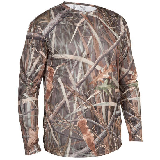 Jagers T-shirt met lange mouwen Steppe 300 moeras camouflage - 618926