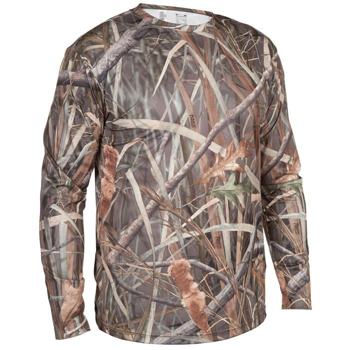 T shirt chasse manches longues Steppe 300 camouflage marais - 618926