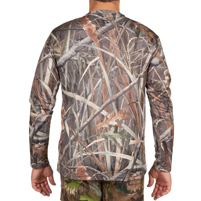 T-SHIRT CHASSE MANCHES LONGUES STEPPE 300 CAMOUFLAGE MARAIS