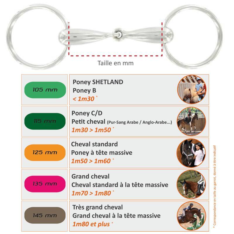 Bocado equitación Pelham articulado de acero inoxidable - tallas poni y caballo