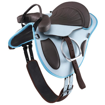 Beginner Horse Riding Fully-Fitted Synthetic Pony Saddle - Sky Blue/Brown