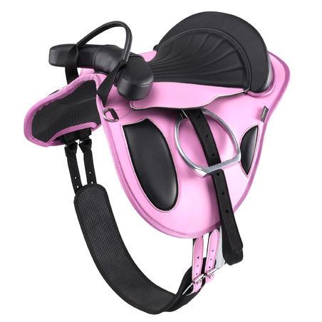 Initiation Synthetic Horse Riding Pony Saddle - Pink/Black
