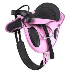 Bardette sintética de equitación poni equipada INICIACIÓN rosa y negro