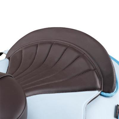 רכיבה - אוכף פוני למתחילים עם בטנה סינתטית מלאה - כחול שמיים/חום
