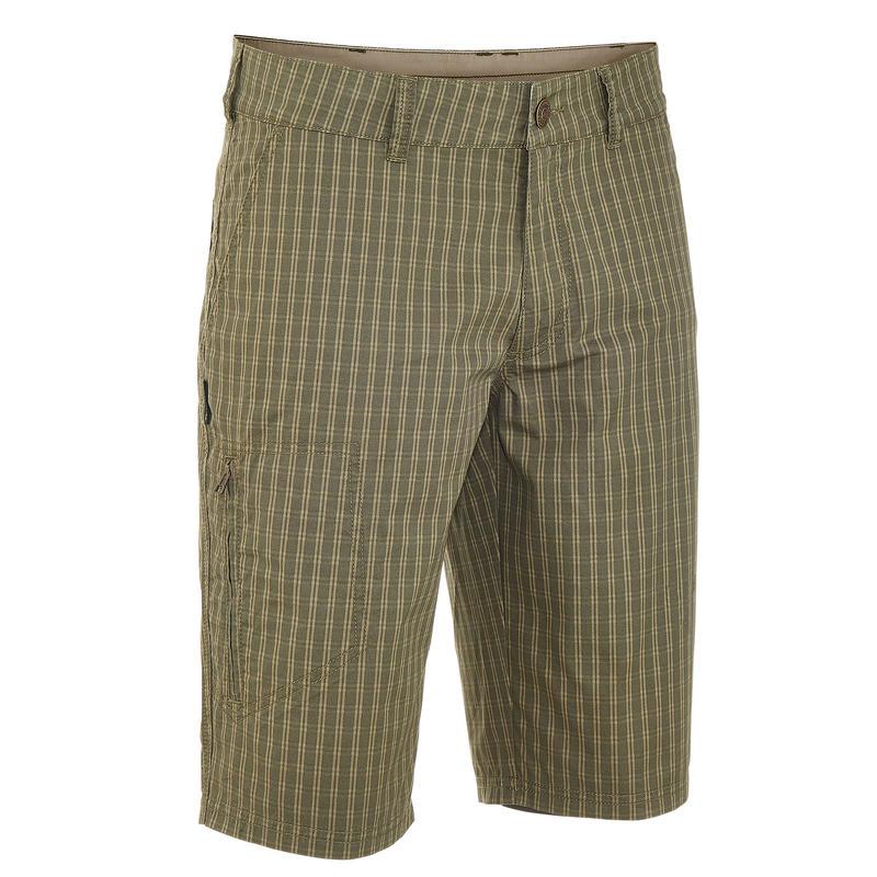 Men's Arpenaz 100 Hiking Shorts Khaki cheque