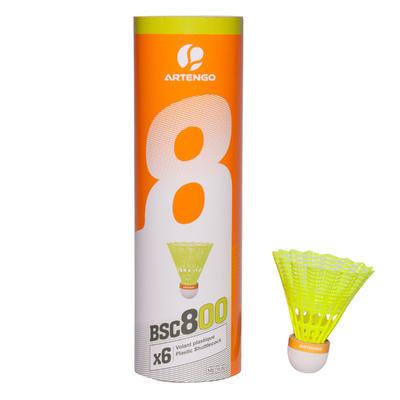 VOLANTS DE BADMINTON BSC800 x 6 - JAUNE -